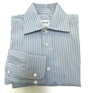 Armani Collezioni Blue/Gray Stripe Shirt- 39/15.5R